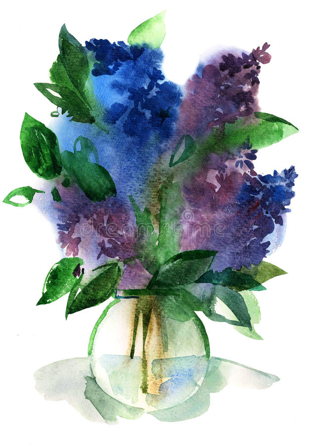 Lilacs bouquet in a vase. Water color illustration on a white background. A basis for graphic design vector illustration