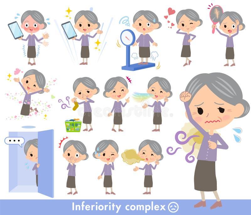 Lilan beklär grandmother_complex vektor illustrationer