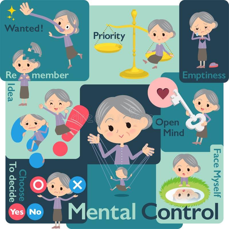 Lilan beklär grandmother_Mental & vilja royaltyfri illustrationer