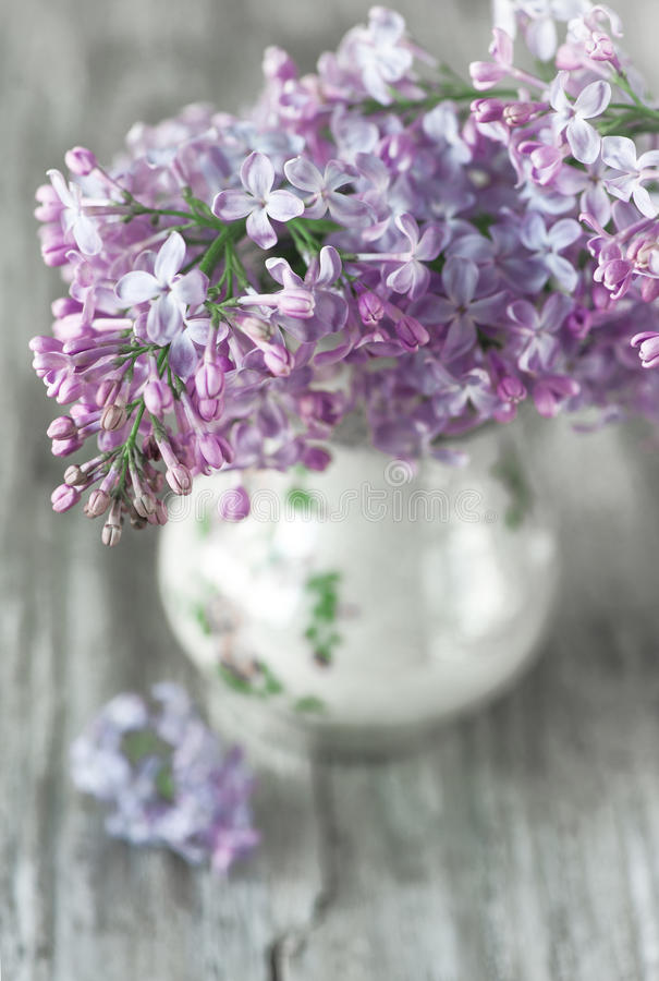Lilan blommar buketten royaltyfri bild