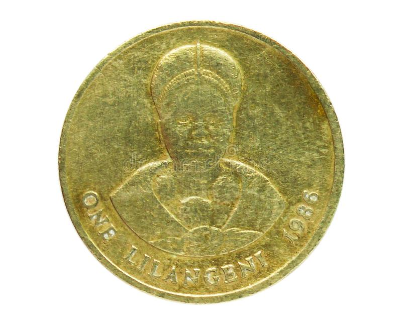 1 Lilangeni Dzeliwe-Münze, 1986~2018 - Mswati III serie, Bank of Swasiland Obverse, Ausgabe 1986 stockbild