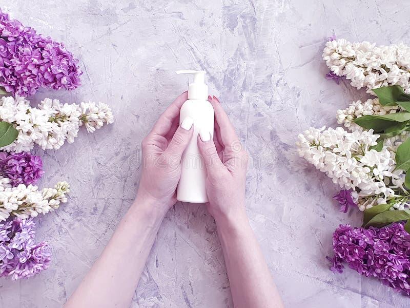 Lilas cosmétique de fleur de mains de traitement crème naturel femelle de manucure sur le béton gris image stock