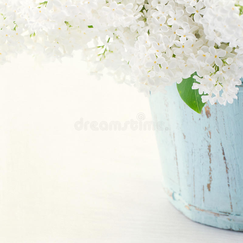 Lilas dans un vase bleu en bois photo libre de droits