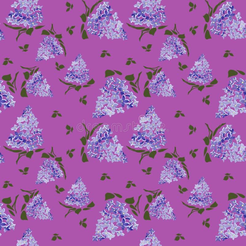 Lilas de floraison sur le fond pourpre Dessin lilas de fleur de branche, illustration illustration de vecteur