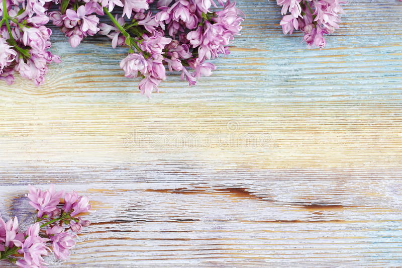 Lilas frais sur le fond en bois de vintage Foyer sélectif image libre de droits