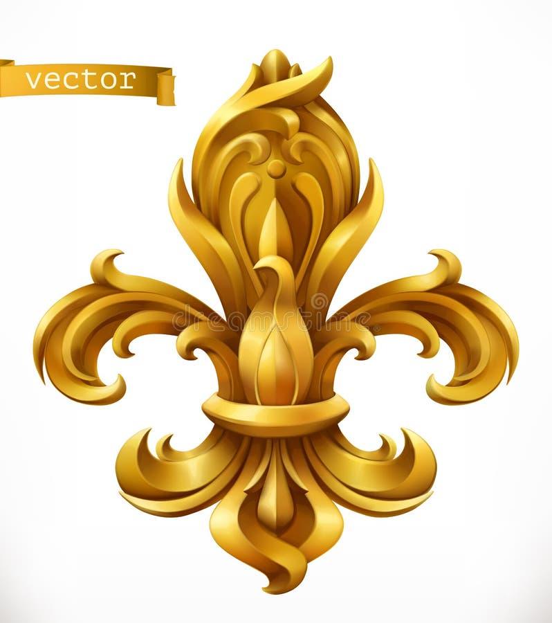 Lilie, stilisiertes Liliengoldemblem Ikone des Vektor 3d vektor abbildung