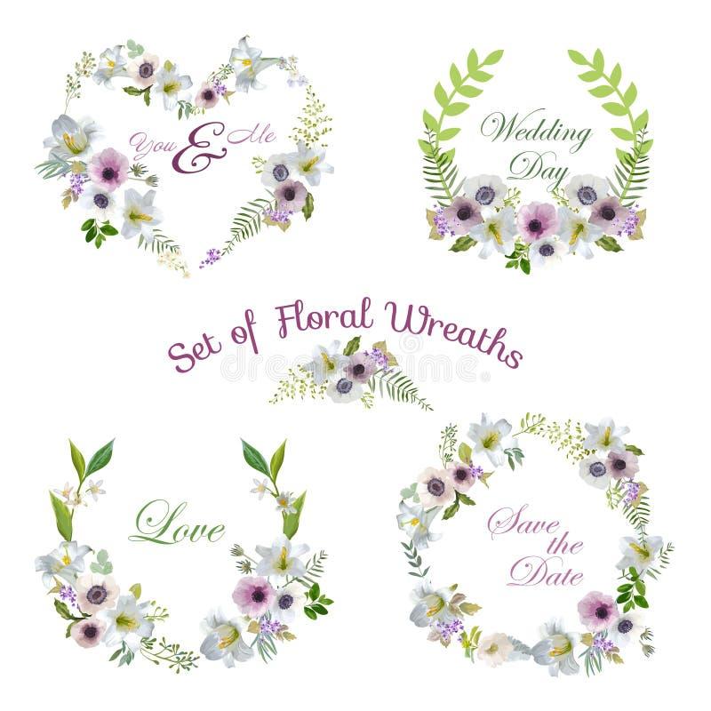 Lilie und Anemone Flowers Floral Wreaths Banners und Tags stock abbildung