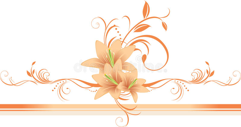 Lilien mit Blumenverzierung auf dem stilvollen Rand lizenzfreie abbildung