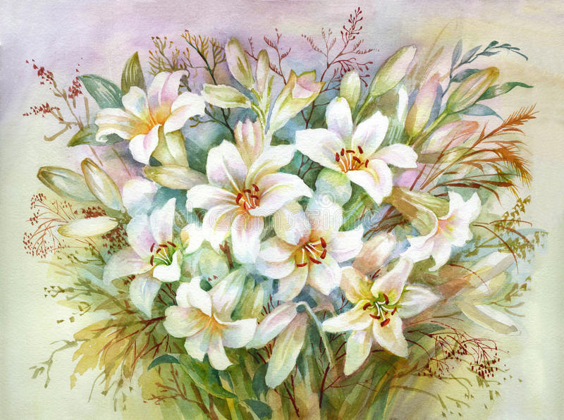 Lilies Bouquet royalty free illustration