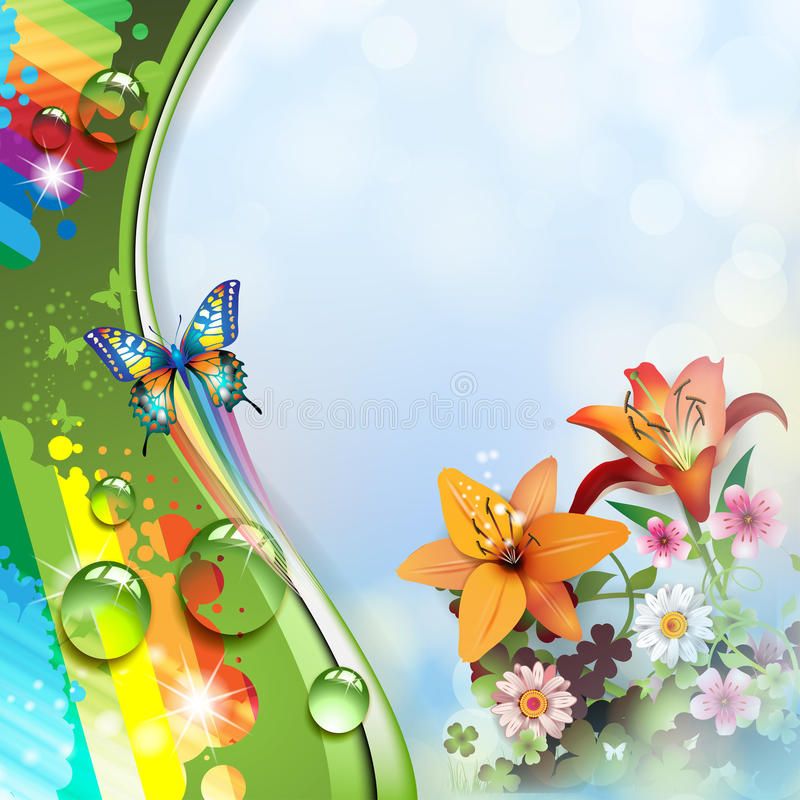 Lilies and butterflies stock illustration