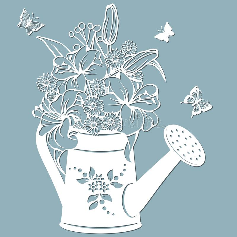 Lilies and chrysanthemums in a jar of water. watering can. Vector illustration. Paper flower, stickers. Laser cut. Template for. Lilies and chrysanthemums in a vector illustration