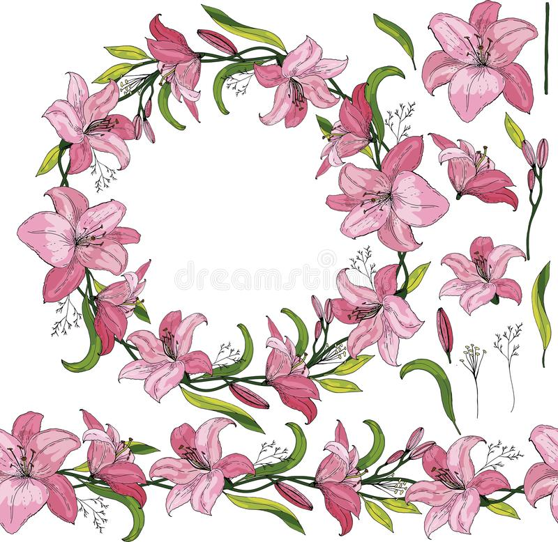 Rose lilies in a wreath with separated elements. royalty free illustration