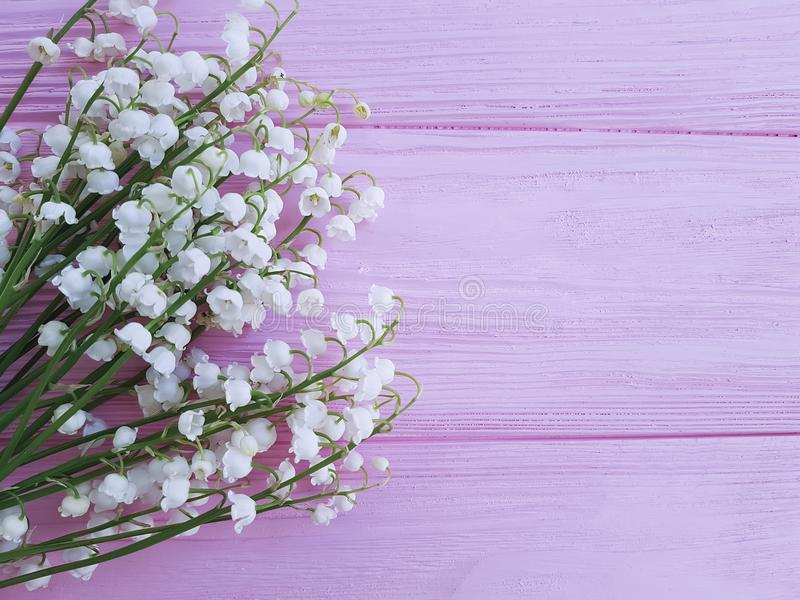 Lilies of the valley on pink wooden romance spring flowers fragrant royalty free stock images
