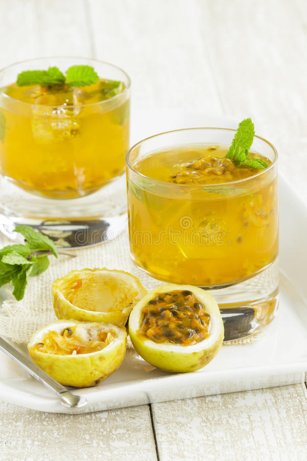 Lilikoi Mint Cooler. Refreshing summertime Hawaiian cooler with passion fruit juice and mint stock photos