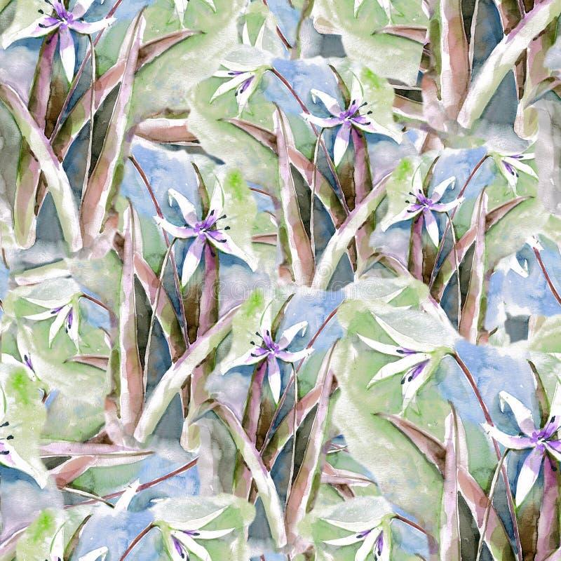 Lilja av vattenfärgen seamless modell Blå version stock illustrationer