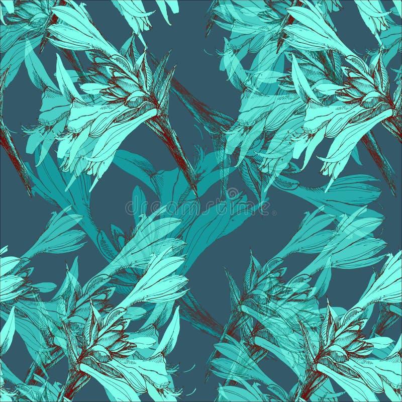 Liljadiagramblommor seamless monokrom modell Blå version vektor illustrationer