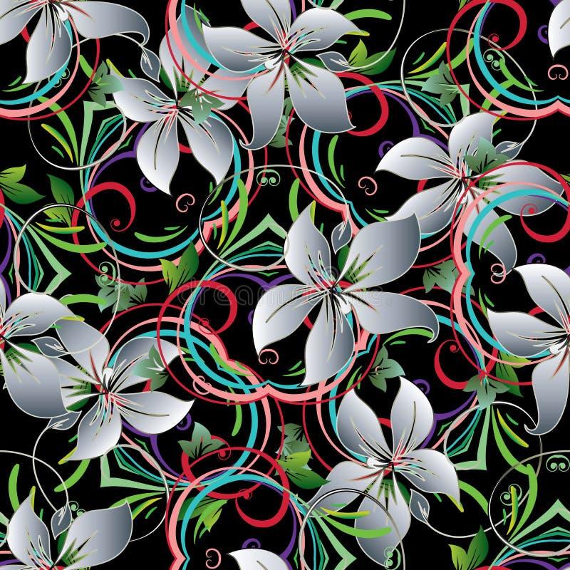 Liljan blommar Seamless mönstrar royaltyfri illustrationer