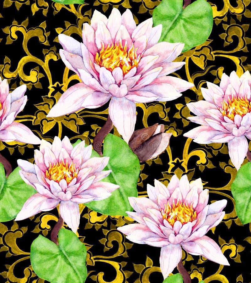 Liljan blommar - waterlily, den guld- asiatiska prydnaden seamless blom- modell vattenfärg royaltyfri fotografi