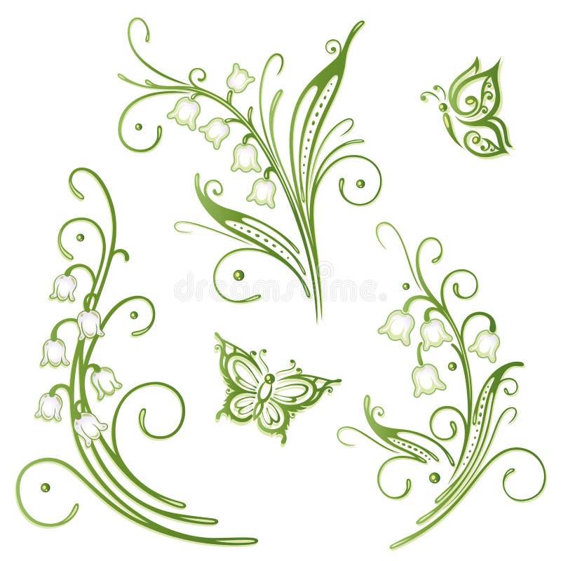 Liljekonvalj vektor illustrationer