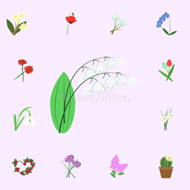 liljekonvaljfärgsymbol Universell uppsättning för blommasymboler för rengöringsduk och mobil vektor illustrationer