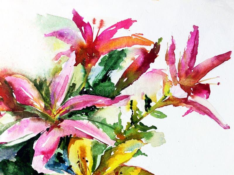 Liljor för blomning för blomma för rosa färger för sommar för natur för vattenfärgkonstbakgrund arbeta i trädgården färgrika vektor illustrationer
