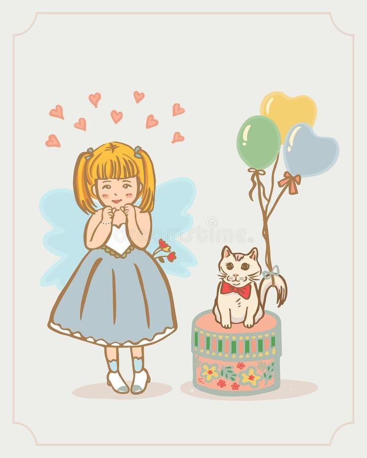 Lilla Angel Girl och Kitty Cat Vektor som isoleras på bakgrund royaltyfri illustrationer