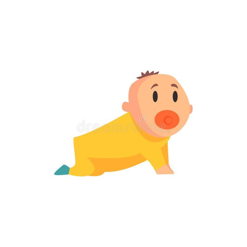 Lilla barnet i guling beklär krypande skrika, del av familjemedlemserie av tecknad filmtecken stock illustrationer