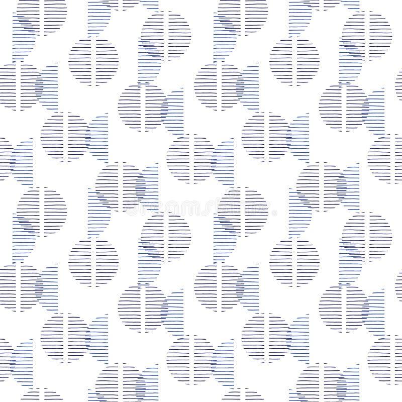 Lilla blåa Retro Geo Dots Vector Seamless Pattern Moderna abstrakta blåa svarta cirklar på vit bakgrund stock illustrationer