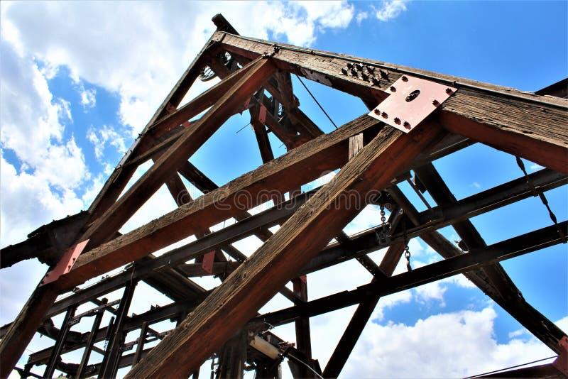 Lilla Daisy Mine, Audrey Shaft Head Frame, Jerome, Arizona, Förenta staterna royaltyfri fotografi