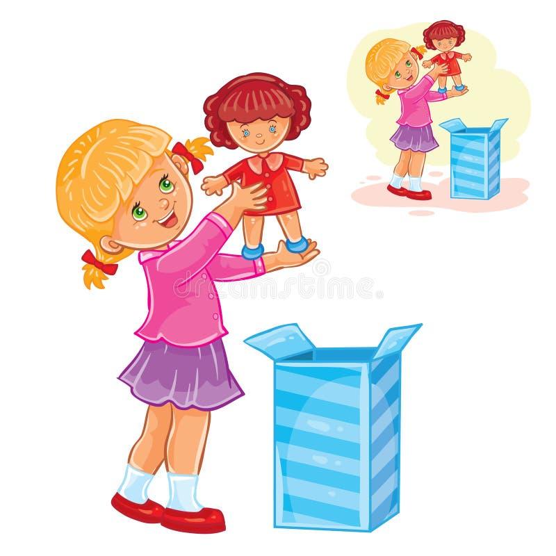 Lilla flickan öppnade en gåva och tog ut en docka från asken vektor illustrationer