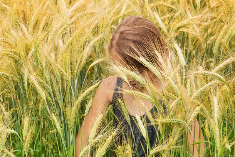 Lilla flickan doppade under grova spikarna av ett mognande kornfält royaltyfri fotografi
