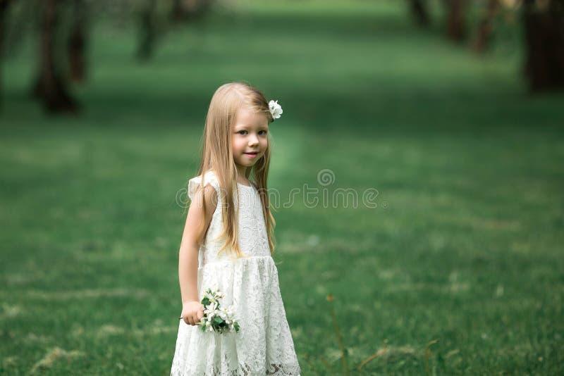 Lilla flickan går i en äppleträdgård royaltyfri bild