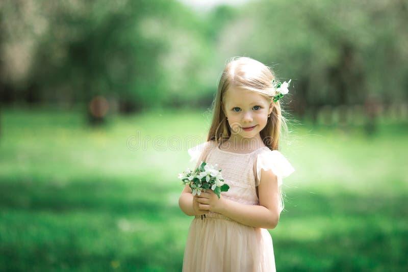 Lilla flickan går i en äppleträdgård royaltyfria foton