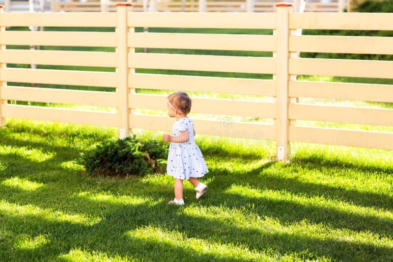 Lilla flickan går i parkera royaltyfri bild