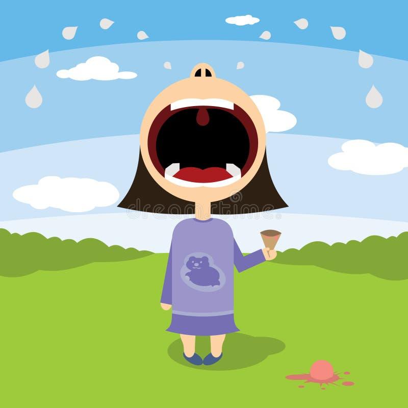 Lilla flickan gråter över glass royaltyfri illustrationer
