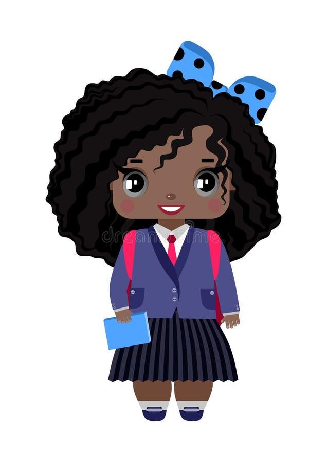 lilla flickan med mörk hud, lockigt hår för svart, grå färgögon, blått bugar och skolalikformign royaltyfri illustrationer
