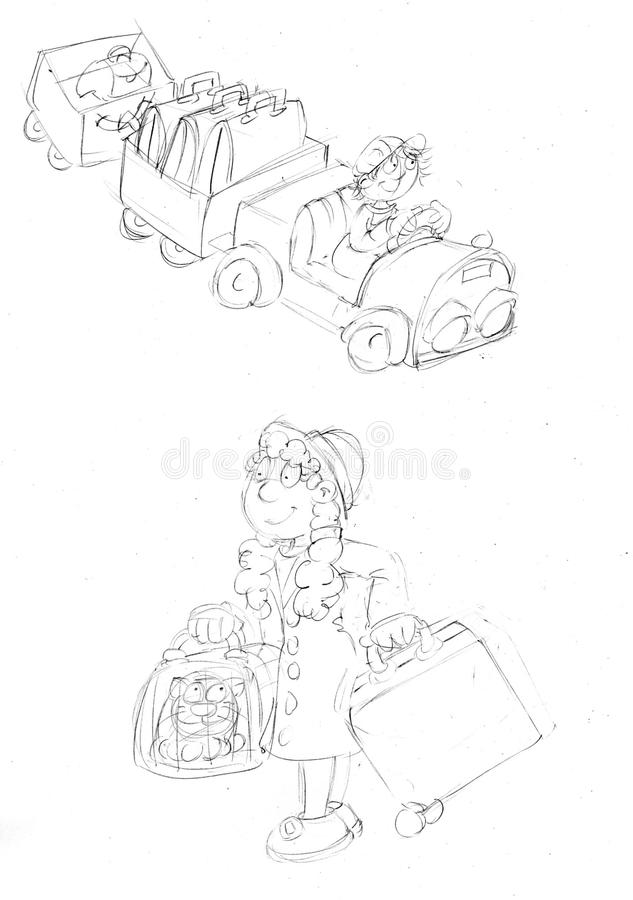 Lilla flickan med resväskor och hennes kattdel, skissar, och blyertspennan skissar och klottrar royaltyfri illustrationer