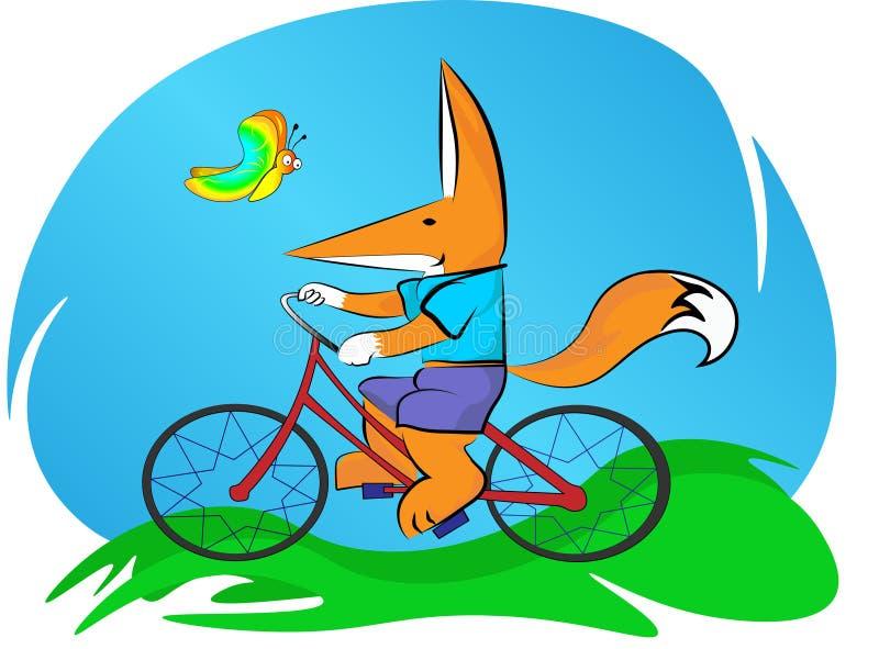 Lilla flickan rider en cykel, i den nya luften bredvid en härlig fjäril flyger stock illustrationer