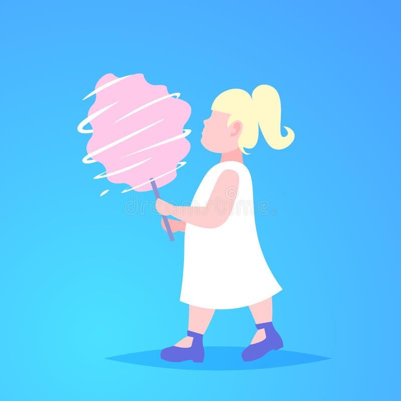 Lilla flickan som äter rosa godis-floss det gulliga barnet som går staden, parkerar att ha roliga kvinnliga blått för längd för t stock illustrationer