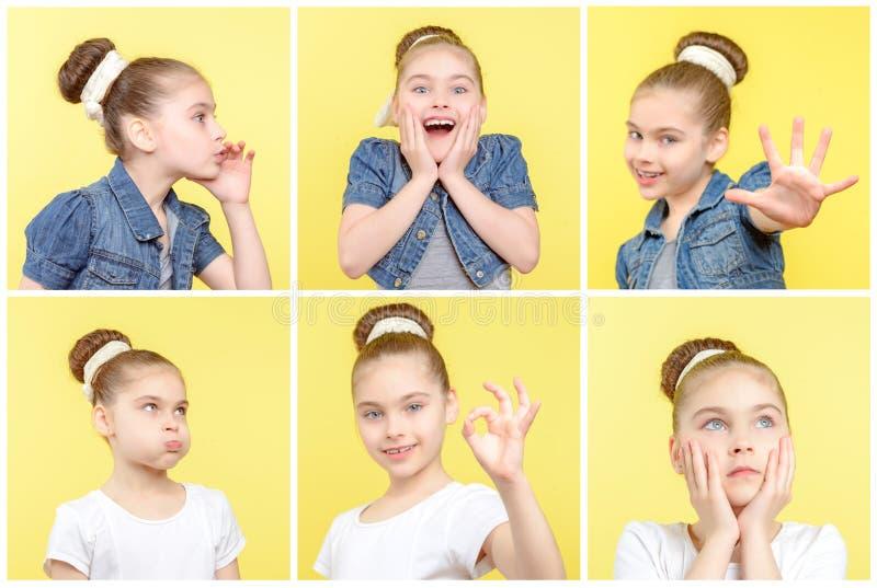 Lilla flickan som använder olika imitatörer för varje, sköt royaltyfri fotografi