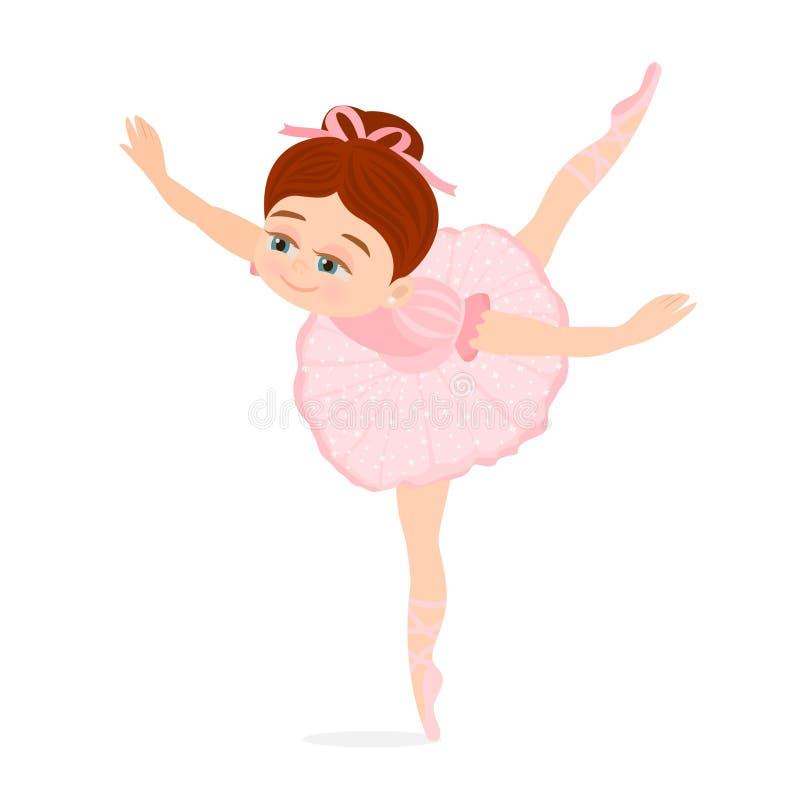 Lilla flickan som dansar att göra för balett, poserar royaltyfri illustrationer