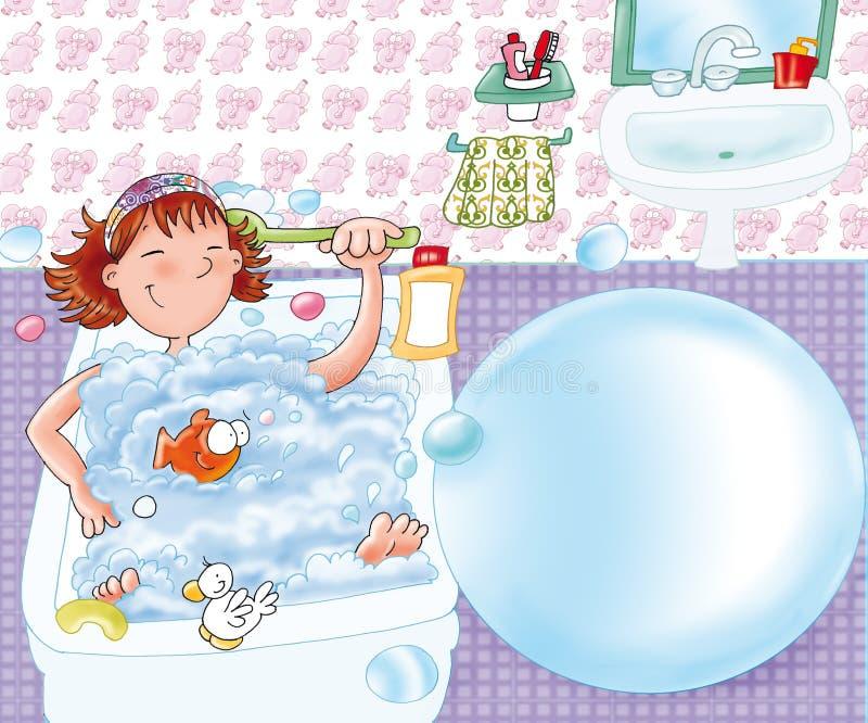 Lilla flickan som washes med hans and i badet badar, ger sig kopplar av stock illustrationer