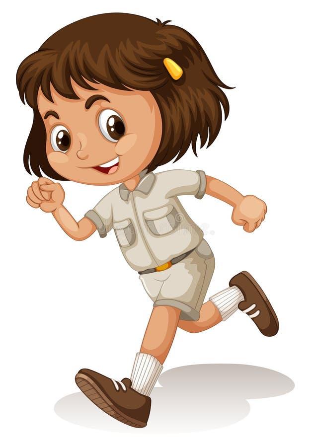 Lilla flickan spanar in likformign royaltyfri illustrationer