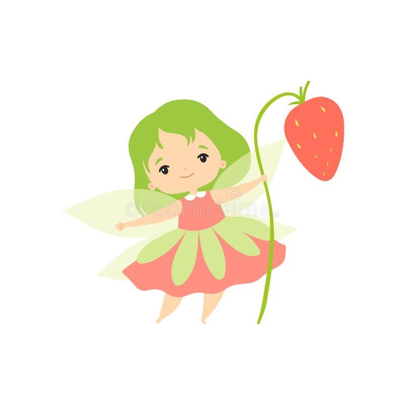 Lilla Forest Fairy med den lösa jordgubben, det älskvärda felika flickatecknad filmteckenet med grönt hår och vingvektorn vektor illustrationer