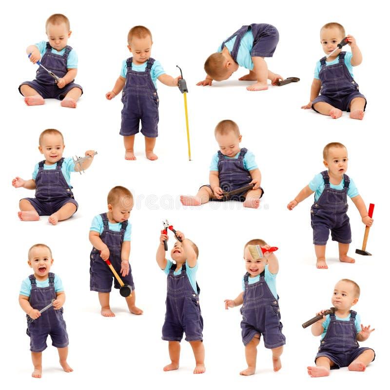 lilla leka hjälpmedel för pojkecollage fotografering för bildbyråer
