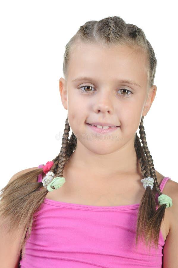 lilla pigtails för flicka royaltyfri foto