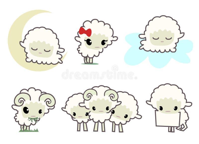 lilla sheeps stock illustrationer