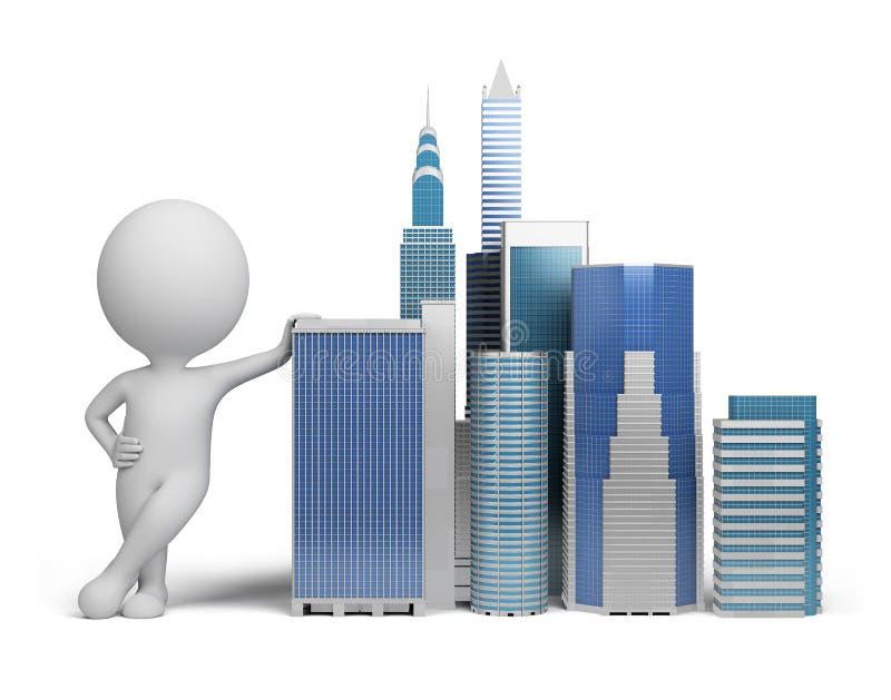 lilla skyskrapor för folk 3d royaltyfri illustrationer