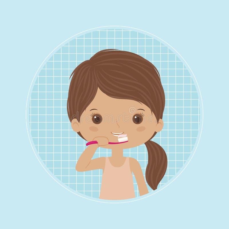 lilla tänder för borstaflicka vektor illustrationer