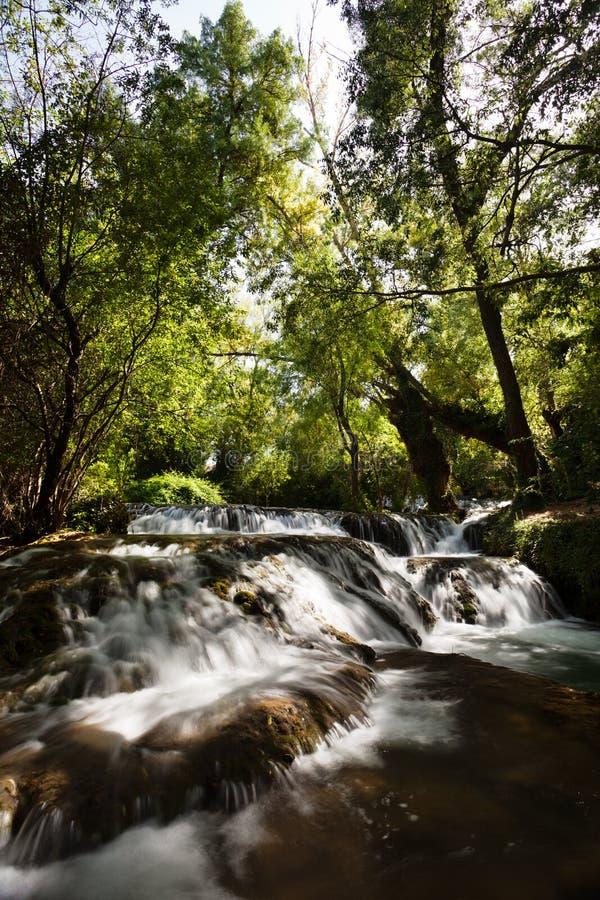 Lilla vattenfall i Monasterio de Piedra royaltyfri foto
